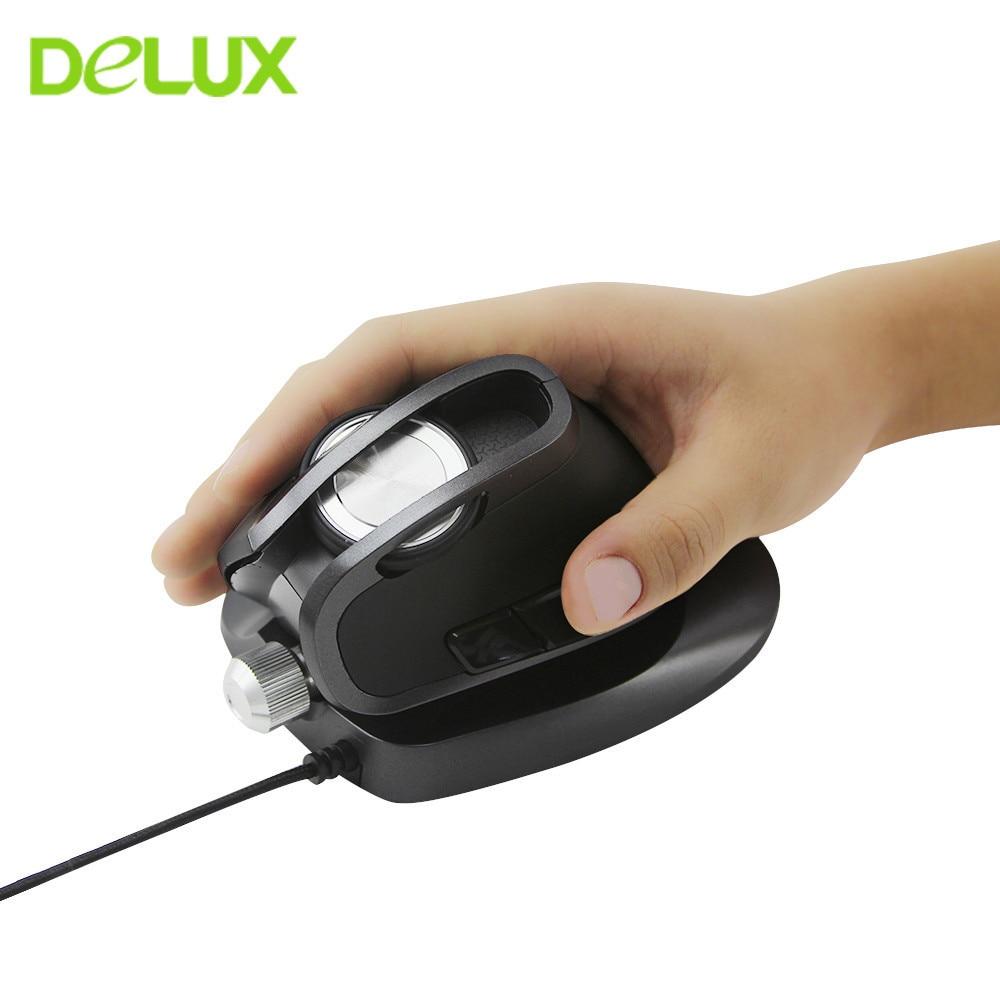 Delux M618X souris verticale ergonomique Gamer ordinateur de jeu filaire souris 6D 4000 DPI USB Angle réglable Laser applaudissements pour ordinateur portable PC