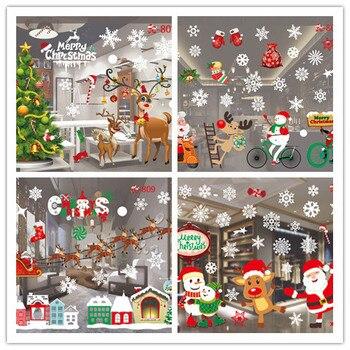 Счастливого Рождества Милые Красочные Снежинки Санта Клаус окна стены ПВХ наклейки рождественские украшения съемные наклейки для дома E