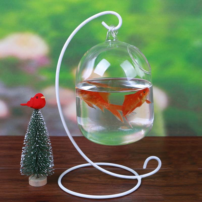 Mrosaa Glass Hanging Aquarium Fish Tank Bowl Flower Plant Vase Table Fish bowl Height 15cm tank for Small fish Pet Supplies image