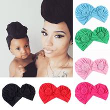 2pcs New Women Baby Turban Hat Fashion Solid Warm Children Parent-child Cap Twist Knot Bonnet Wrap Caps Mom Baby's Casual Hats(China)