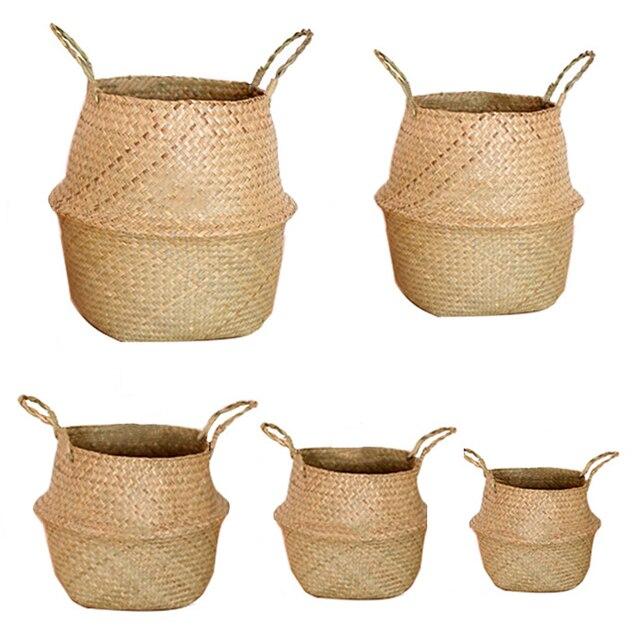 Algas De Armazenamento Roupa suja Cesta Plantador De Vime Caixa Simples Decoração Recipiente Dobrável de Palha Artesanal de Bambu Organizador