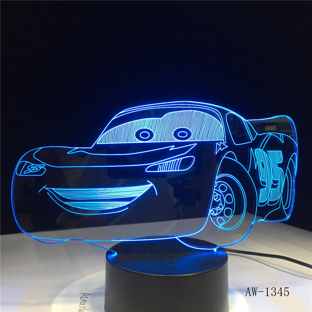 Lightning McQueen Route 66 Your Racing <font><b>Car</b></font> <font><b>3D</b></font> 7 Color Lamp Visual <font><b>Led</b></font> <font><b>Night</b></font> <font><b>Lights</b></font> For Kids Touch Usb Table Lampara AW-1345 image