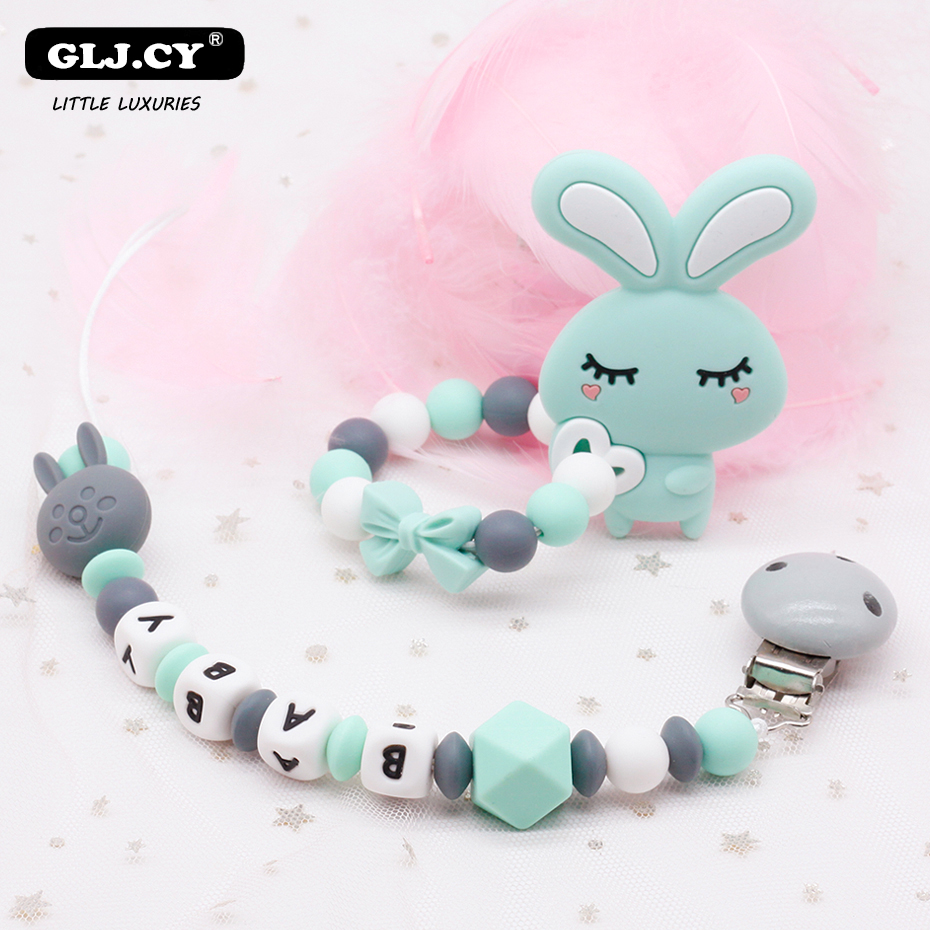 Customized Baby Name Teething Baby Pacifier Chain Silicone Teether Beads BPA Free For Baby Gift Educational Toys Fashion New