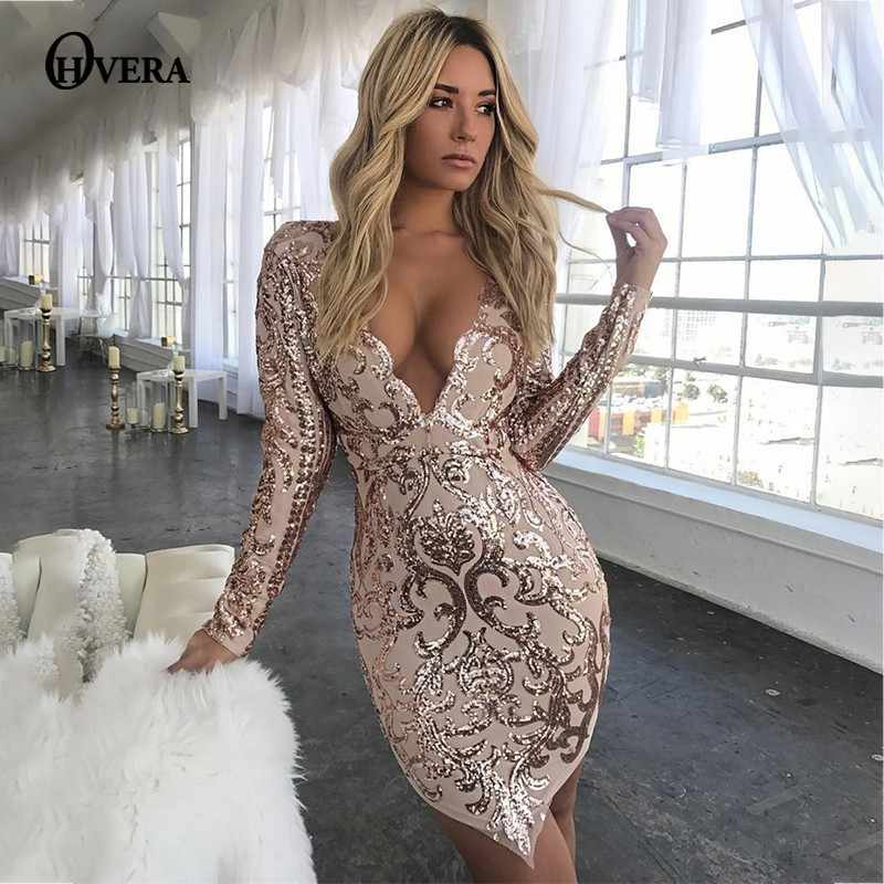 bb35b39223bb Ohvera Mesh Sequin Party Dresses Women Deep V Neck Bodycon Sexy Dress Mini  Winter Dress Elegant