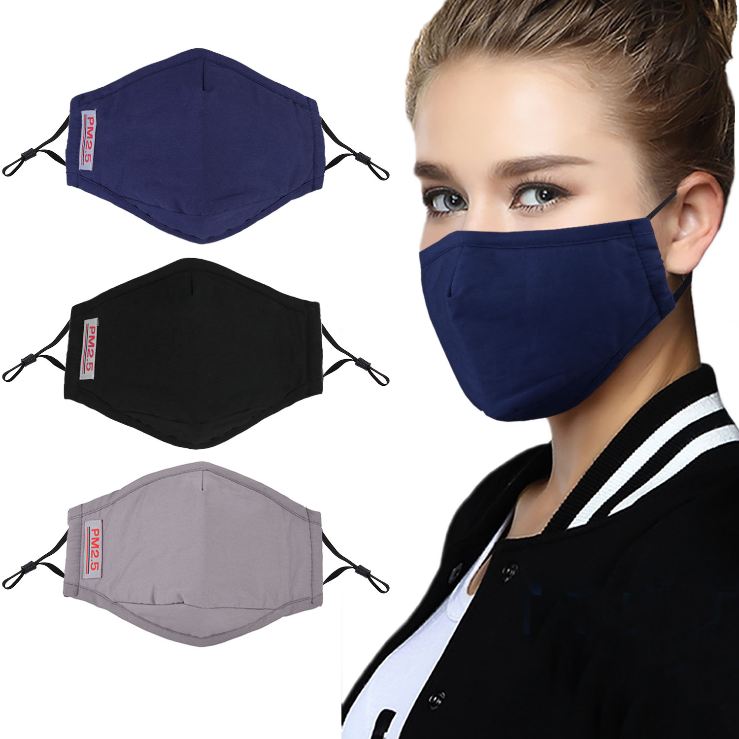 3pcs Fashion Face Mouth Mask Anti Dust Mask PM2.5 Filter  Windproof Mouth muffle Bacteria Proof Flu Face Masks Care  ReusableWomens Masks