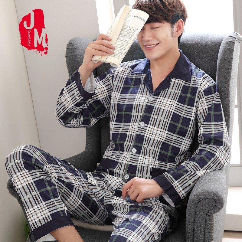 Pyjama-Set Sleepwear Nightwear 100%Cotton Autumn XL Plaid Two-Piece Spring Men XXXL