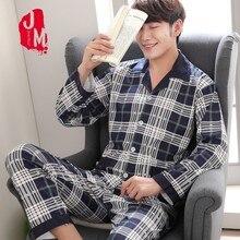 Men Pyjama Set 100% Cotton Spring Pajama Suit Autumn Long Sleeve Plaid Sleepwear Two Piece Nightwear L XL XXL XXXL