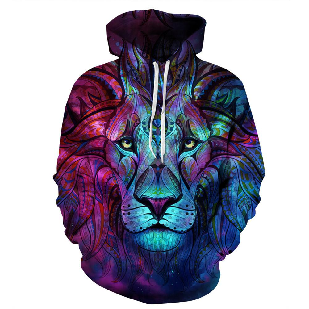 MISSKY Unisex Lovers Men Sweatshirt 3D Star Lion Digital Printing Hooded Sweatshirt Stylish Long-Sleeve Coat