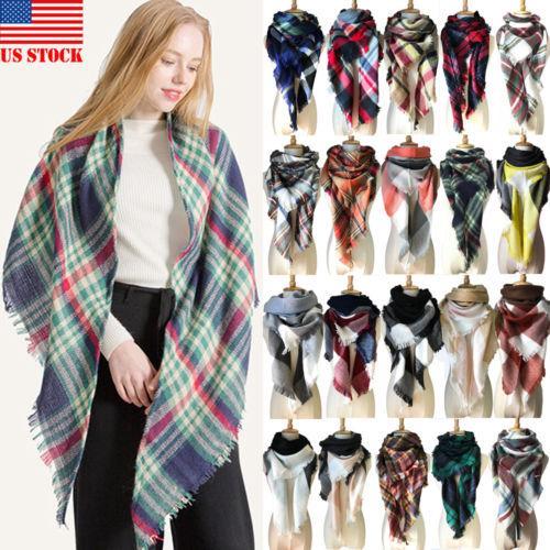 2018 Hot Fashion Womens Lady Winter Warm   Scarf   Cashmere Long   Wrap   Shawl Plaid Knit   Scarf   21 Styles Large Shawl   Wrap   New