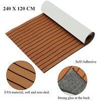 Self Adhesive EVA Boat Yacht Flooring Faux Imitation Teak Decking Sheet Pad 1200x2400x5mm Foam Floor Mat Brown