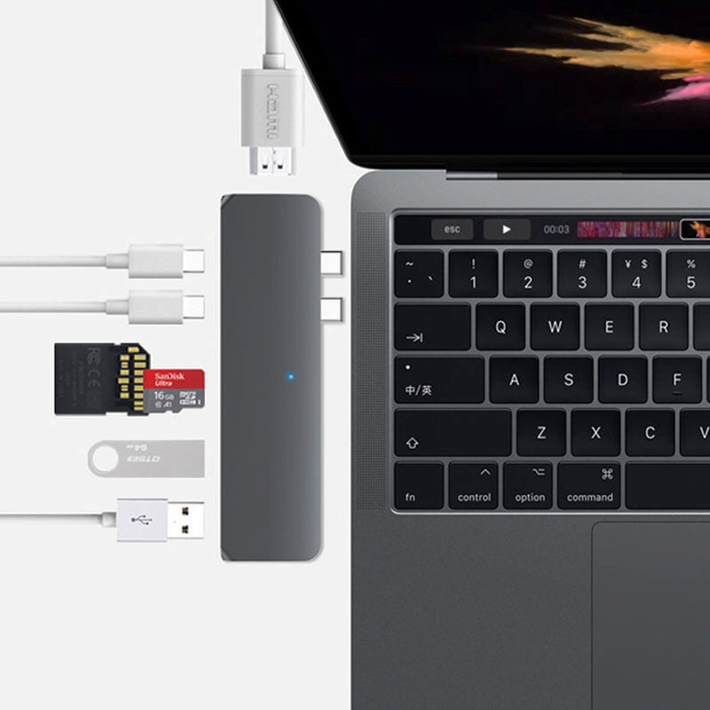 USB Typ C HUB Thunderbolt 3 Adapter USB-C Dock Dongle mit HDMI 4 k PD 2 USB 3.0 Micro SD TF kartenleser für Neue MacBook Pro