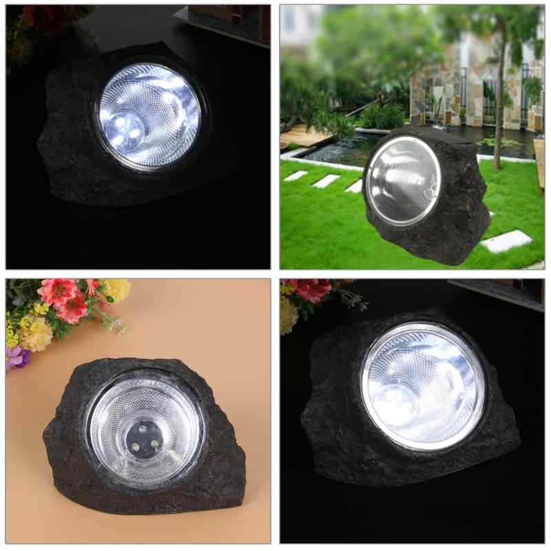 3 LED Solar Outdoor Light Waterproof Solar Lights for Garden Decorative Stone Shape Solar Powered LED Light Landscape Lawn Lamp