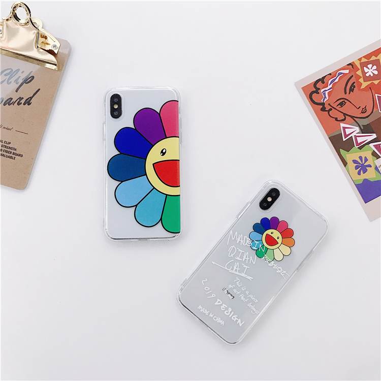 Cartoon Clear Smiling Sunflowers Phone Case For iPhone 6 6s 7 8 Plus X XR XS MAX Soft TPU Transparent Back Cover Fundas Coque Инструмент