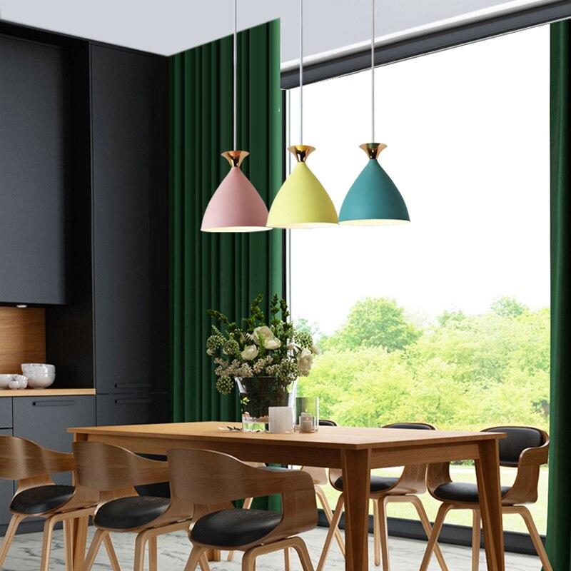 Nordic Minimalist Creative Bar Restaurant Bedroom Cafe Color Single Head Macaron Bell LED Chandeliers