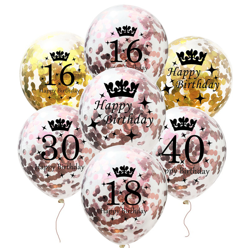Happy <font><b>Birthday</b></font> Confetti Balloon Number Balloon Adult <font><b>Birthday</b></font> Cake Topper Gift Sticker For 16 <font><b>18</b></font> 21 30 40 50 60 Years <font><b>Decoration</b></font> image