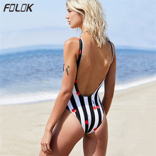 Folok 2019 Striped Swimwear One Piece Swimsuit Women Backless Monokini Swimsuit Cherry Print Bodysuit Deep V Beach Bathing Suit