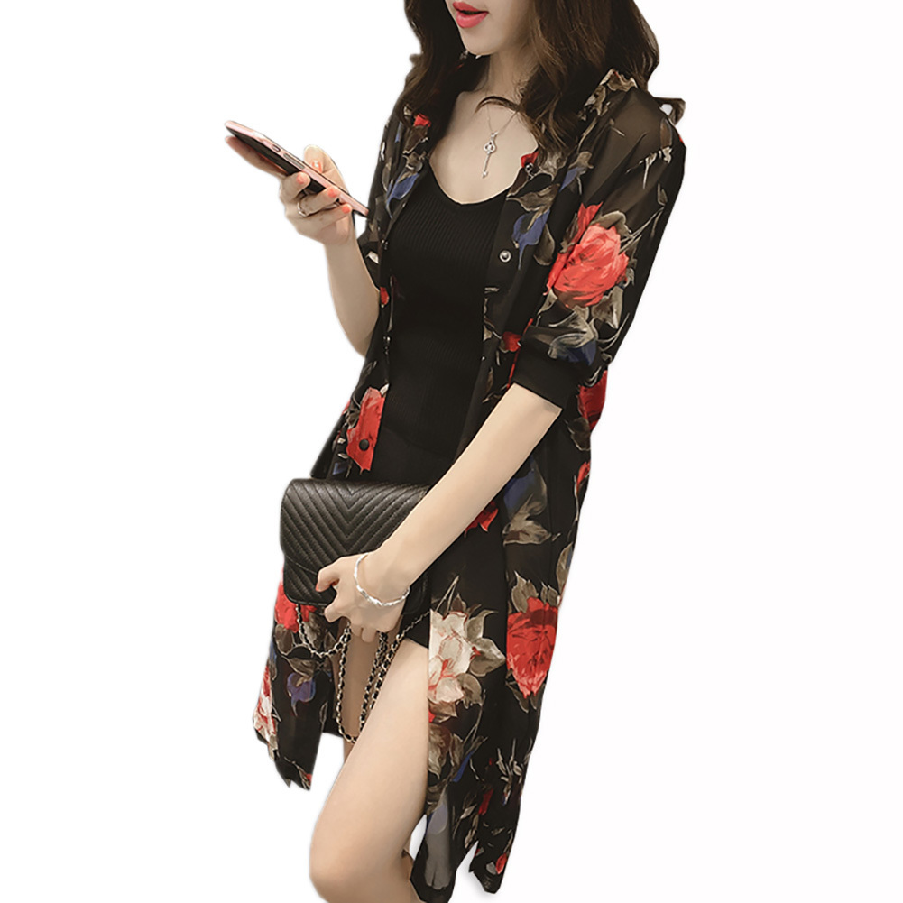 2019 Chiffon   Blouse   Long   Shirt   New Summer Half Sleeve Vintage Elegant Floral Print Cardigan Women Tops Ladies Clothes
