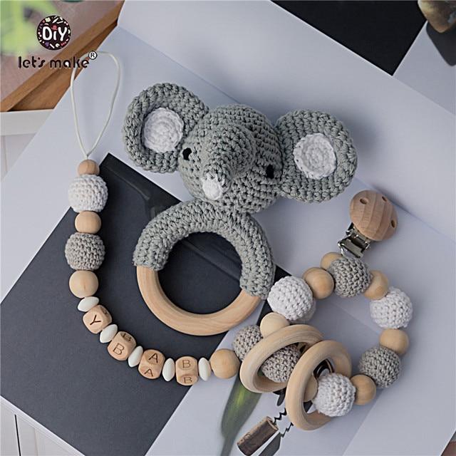 Vamos a hacer sonajero de bebé 1 Juego de ganchillo elefante búho nombre personalizado recién nacido Montessori educativos Anillos De Madera Juguetes de bebé