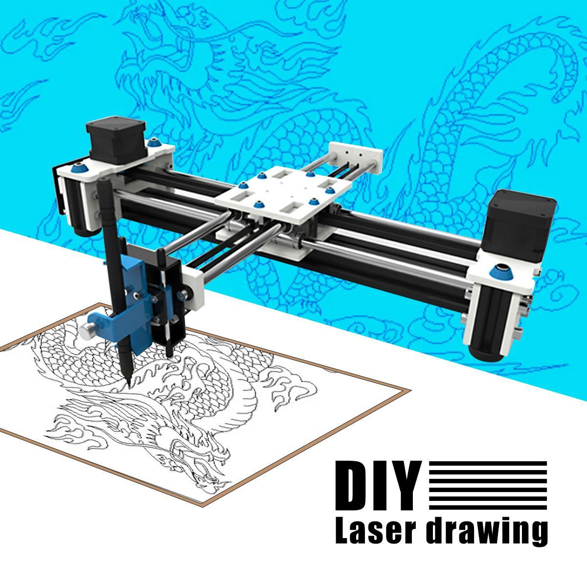 280x200mm mini xy 2 eixos cnc plotter caneta usb diy máquina de desenho a laser área gravura do desktop desenho robô