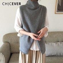 CHICEVER Spring Casual Women Knitting Vest Mandarin Collar Sleeveless Split Hem Loose Slim Female Top Clothing 2020 New Tide