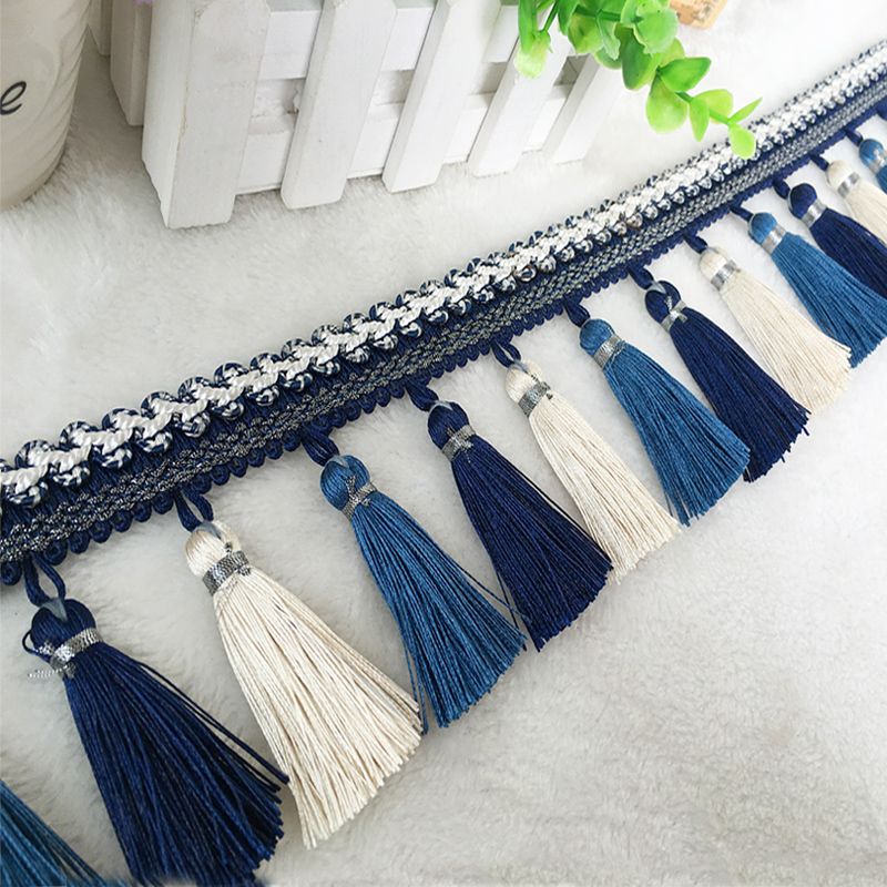 YY-tesco 1Yards 8.5cm Wide Curtain Fringe Trim Tassel Fringe Trimming For DIY Latin Dress Stage Clothes Accessories Lace Ribbon