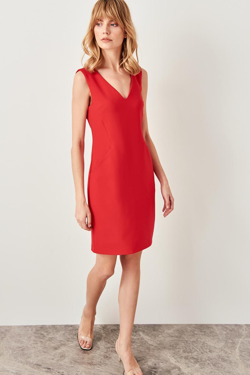 Trendyol Red Pocket Detail Dress TWOSS19AA0064