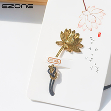 Купить с кэшбэком EZONE 1PC Visual Plant BookMark Metal Brass Golden Book Clip  Creative Leaves Lotus Clover Shape Bookmark Support Dropshipping