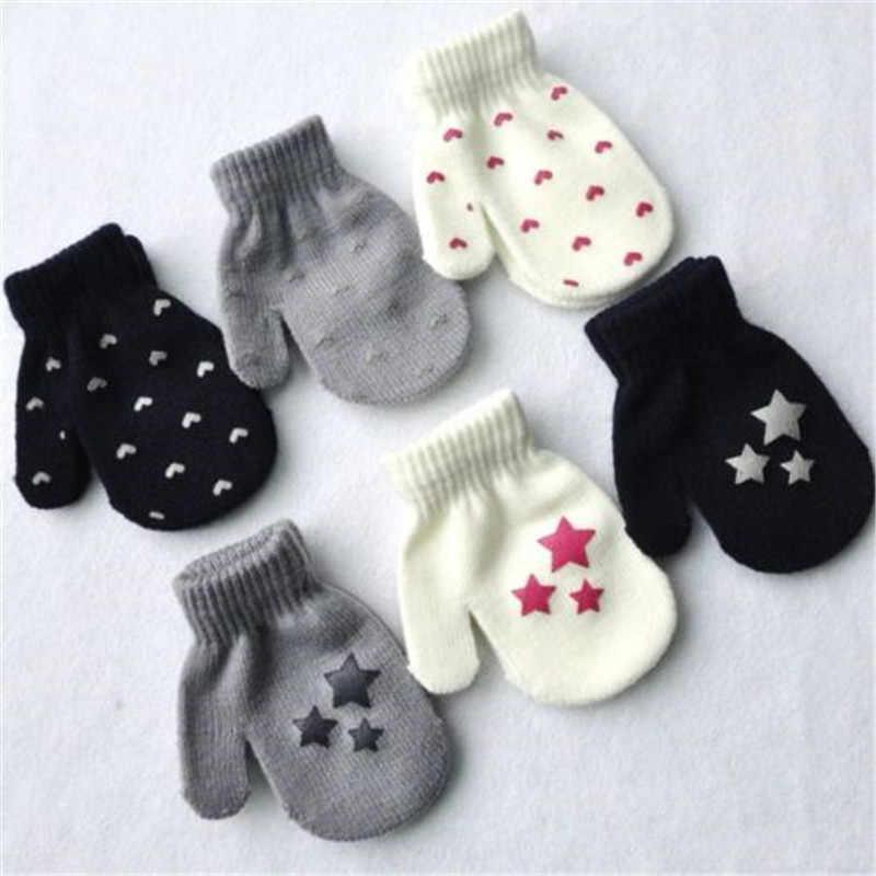 תינוק ילדים דוט כוכב לב דפוס כפפות בני בנות חורף חמות סרוגות