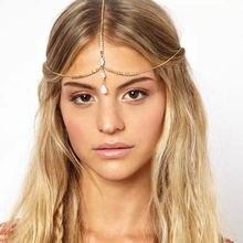 Женская повязка на голову золотого и серебряного цвета