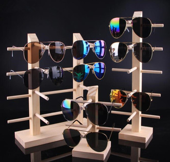 Hot sale Multi Layers Sun Glasses Eyeglasses Natural Wood Display Stand Shelf jewelry Display Show Stand bracelet Holder Rack image