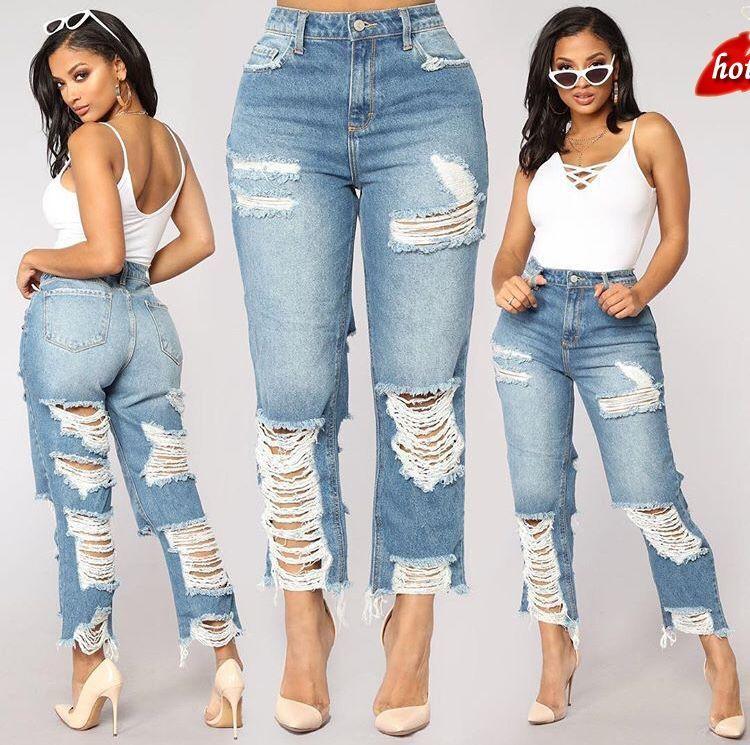2018 Plus Size Women Loose High Waist Jeans Hole Woman Boyfriend Ankle Length Pants Women Ripped Jeans For Women O8R2