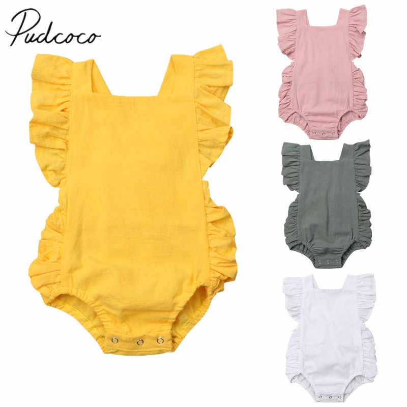 2018 Brand New Newborn Toddler Kids Baby Girls Romper Ruffles Short Sleeve Solid Backless Belt Jumpsuits Cotton Solid Playsuit