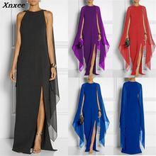 2019 Autumn Winter Evening Party Dresses Women Fashion Batwing Long Sleeve Chiffon Dress Sexy Side High Split Maxi