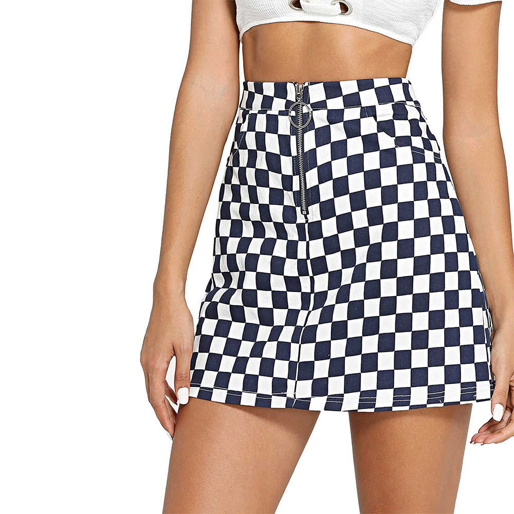 Joineles Frauen Mini Röcke Frühling Sommer Ring Zip Up Plaid Röcke Casual A-Line Party Röcke 2019 Neue Femme Vestidos