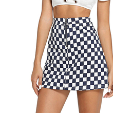 49dbc88ce01d Wipalo Women Mini Skirts Spring Summer Ring Zip Up Plaid Skirts Casual  A-Line Party