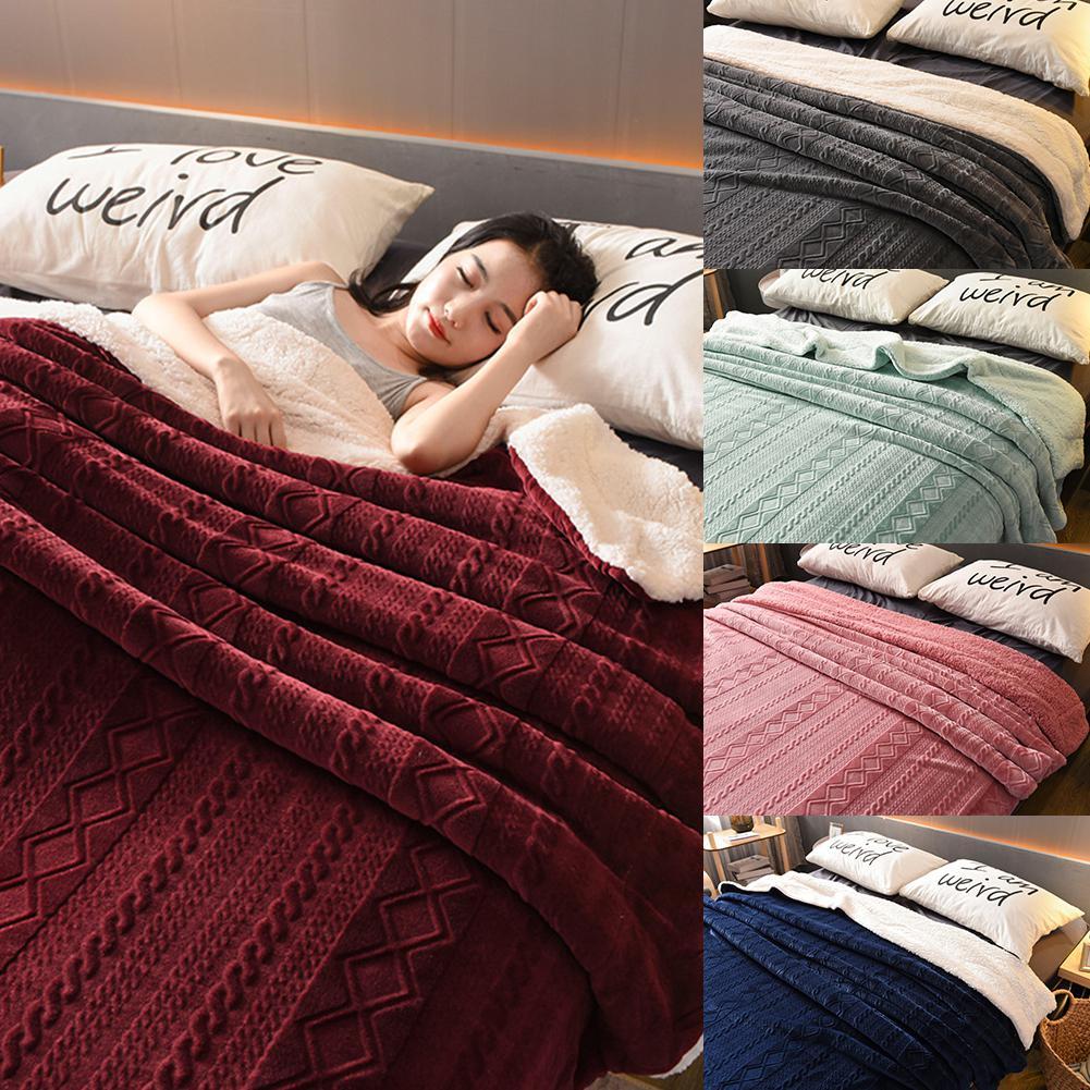 Épaissir berbère couverture polaire Double couche en peluche polaire pour lits canapé jeter couverture couvre-lit
