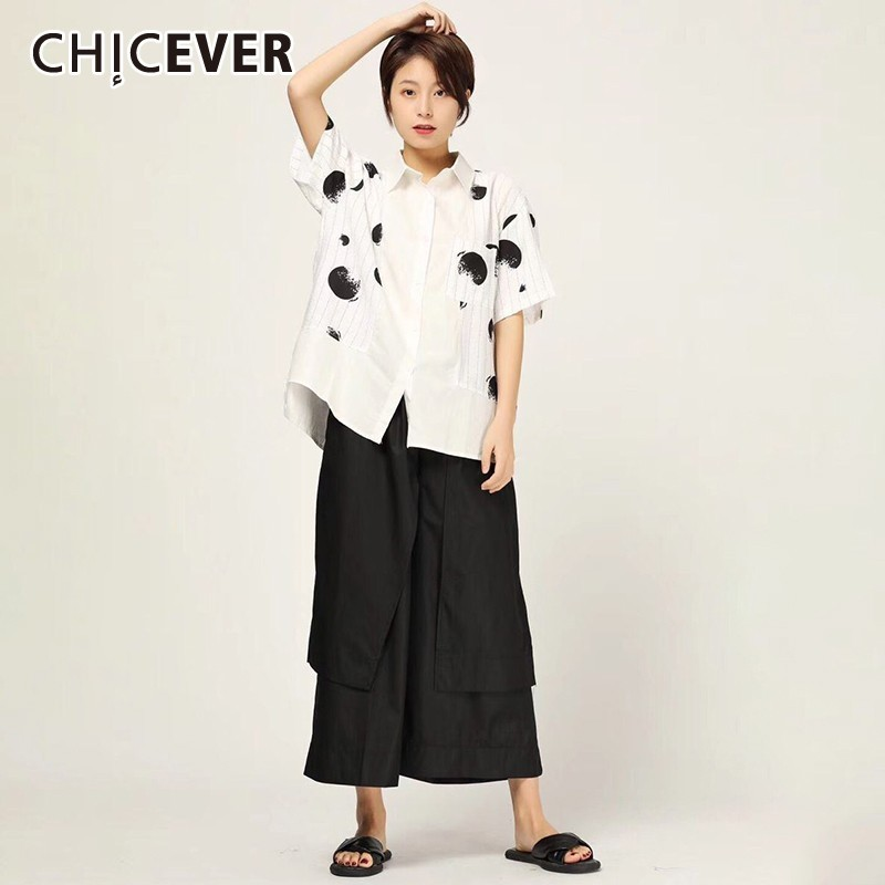 CHICEVER Spring Casual Two Piece Set Lapel Short Sleeve Dot Print Shirt With Elastice Waist Ankle