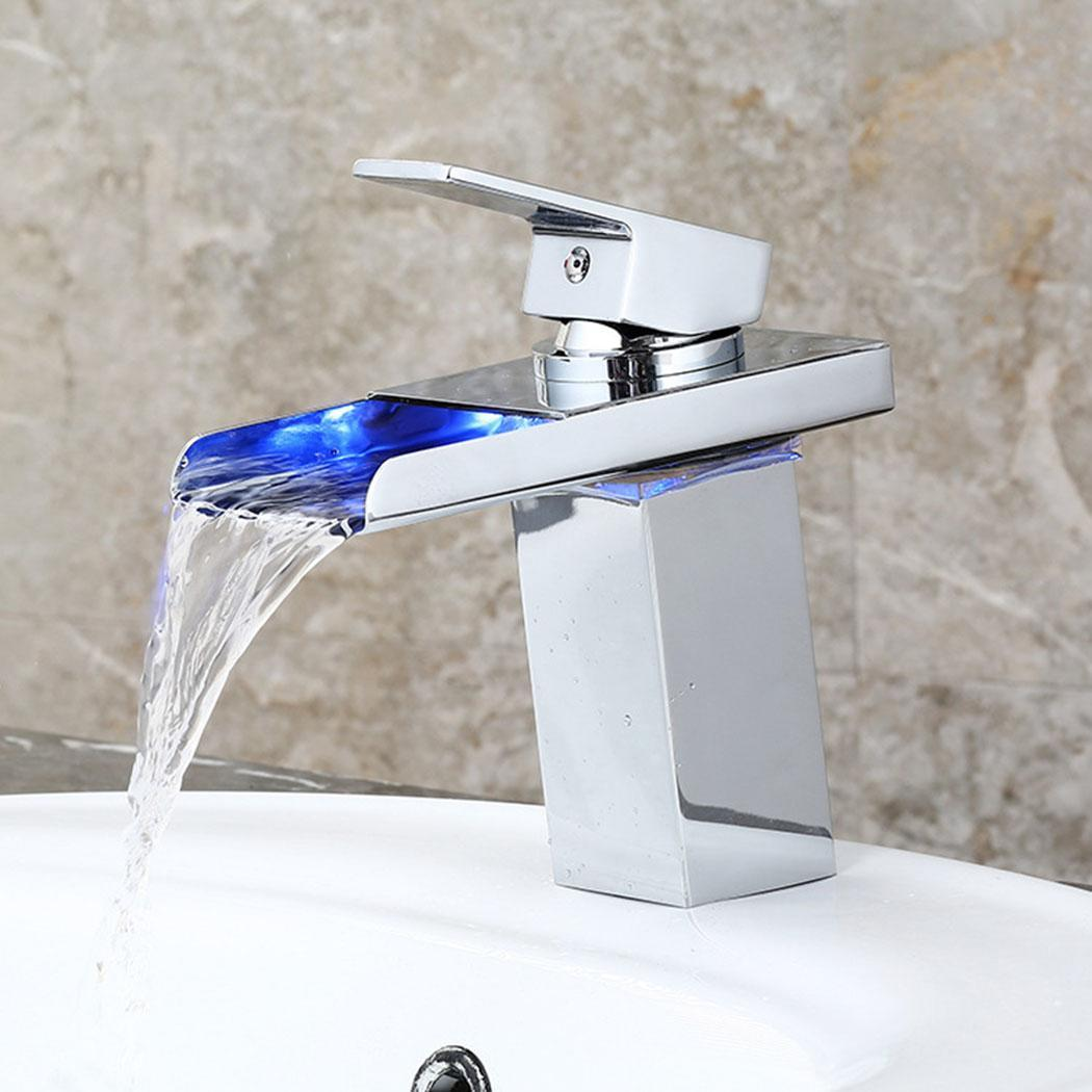 Durable Practical Anti-rust Temperature Control Household LED For Wash Basin Handle Waterfall Home FaucetDurable Practical Anti-rust Temperature Control Household LED For Wash Basin Handle Waterfall Home Faucet
