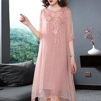 Эксклюзивное Платье Китайский Для женщин классические шелковые платья вышивка Лето натурального шелка Длинные платья Плюс Размеры Полови