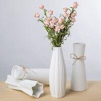 White Ceramic Vase Artificial Flowers Vase Crafts Decor Geometry Vase Rregular Flower Vase Gift Wedding Home Decoration