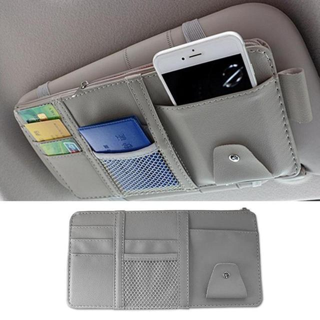 Universal Car Auto Visor Organizer Holder PU Leather Case for Card Glasses Car Accessories Sun Visor Multifunctional Storage