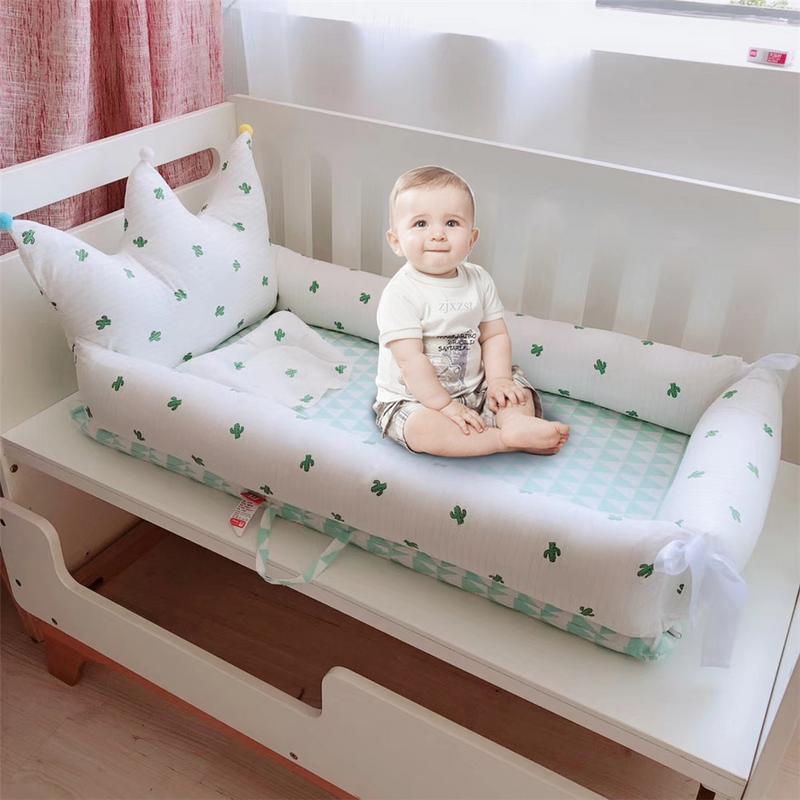 Accueil Portable bébé matelas amovible et lavable Style couronne lit lit nouveau-né lit bionique bébé endormi artefact 0-2 ans