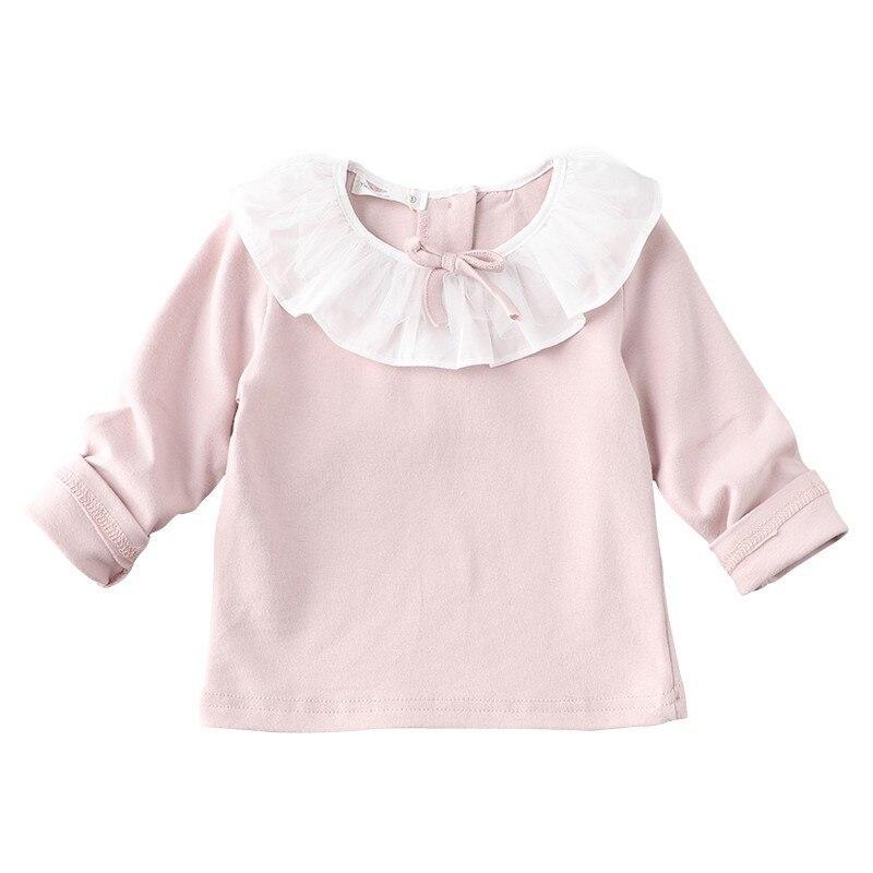 Mädchen Kleidung Gutherzig Frühling Baby Mädchen Tops Weiß Langarm Weiß Peter Pan Kragen Bogen Kinder Kleidung Mode QualitäT Und QuantitäT Gesichert