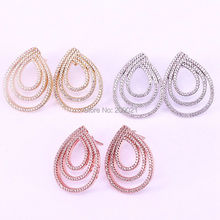 5Pairs New Fashion High Quality Cubic Zirconia Waterdrop shape Stud Earrings in Mix Colors