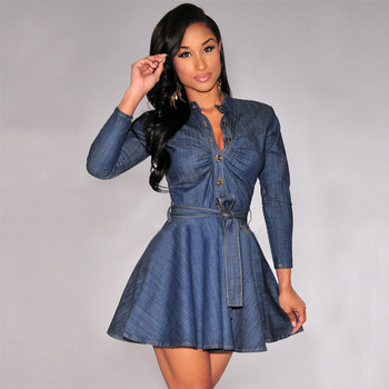 Denim Miniskirt Long Sleeve Dress