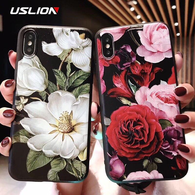 USLION 3D Emboss Flor Caso de Telefone Para o iphone 11 X XR Xs Max 8 Plus 11 Pro Max Camellia Rose Folha de Capa Para o iphone 7 6 6S Plus