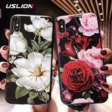 USLION 3D En Relief Fleur Pour iPhone 11 X XR Xs Max 8 Plus 11 Pro Max Camélia Rose Feuille Couverture Pour iPhone 7 6 6S Plus