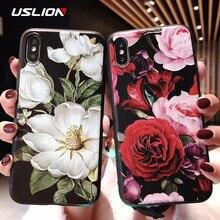 USLION funda 3D con estampado de flores para iPhone, funda de hoja rosa para iPhone 11 X XR Xs Max 8 Plus 11 Pro Max Camelia 7 6 6S Plus