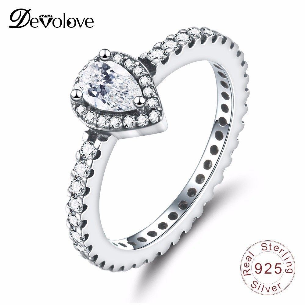 Devolove Classic 925 Sterling Silver Radiant Teardrop Women High Quality & Engagement Ring For Bridal Jewelry DropshippingDevolove Classic 925 Sterling Silver Radiant Teardrop Women High Quality & Engagement Ring For Bridal Jewelry Dropshipping