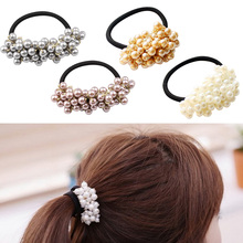 Women Headwear Hair Accessories Pearl Elastic Rubber Bands Ring Girl Hair Band Holder Scrunchy Rope Hair Jewelry 4 Colors цены